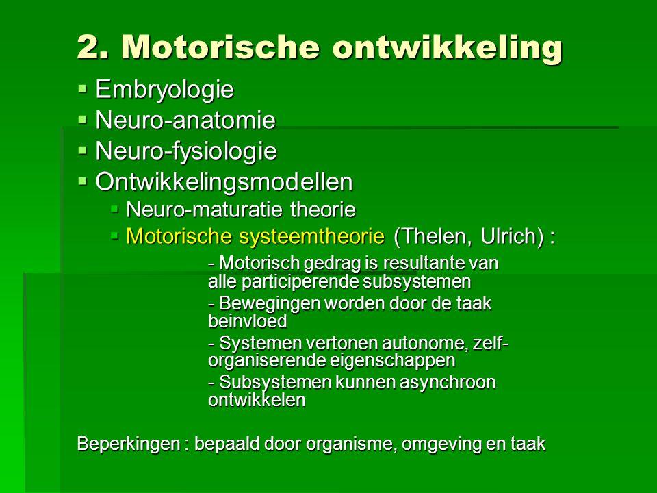 2. Motorische ontwikkeling  Embryologie  Neuro-anatomie  Neuro-fysiologie  Ontwikkelingsmodellen  Neuro-maturatie theorie  Motorische systeemthe