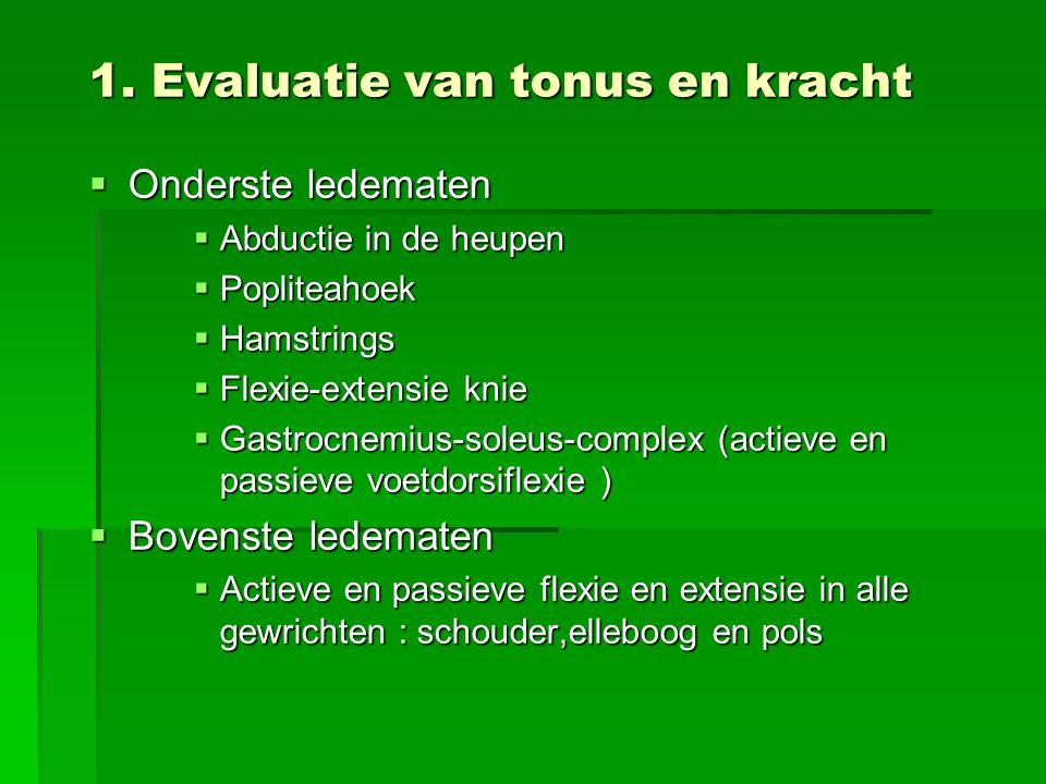 1. Evaluatie van tonus en kracht  Onderste ledematen  Abductie in de heupen  Popliteahoek  Hamstrings  Flexie-extensie knie  Gastrocnemius-soleu