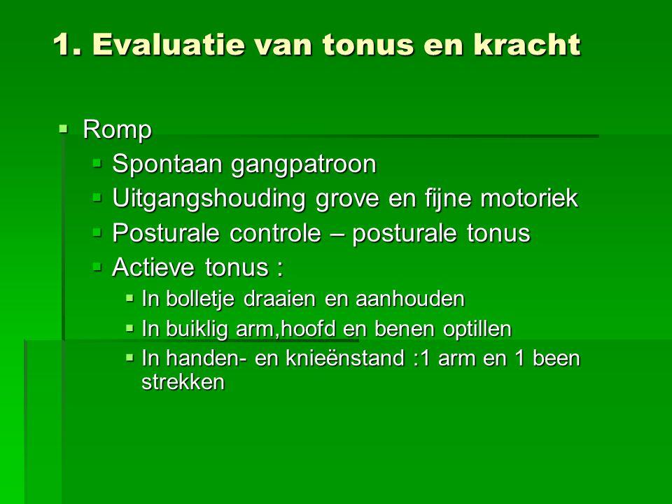1. Evaluatie van tonus en kracht  Romp  Spontaan gangpatroon  Uitgangshouding grove en fijne motoriek  Posturale controle – posturale tonus  Acti