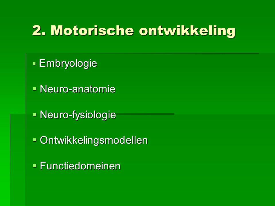 2. Motorische ontwikkeling  Embryologie  Neuro-anatomie  Neuro-fysiologie  Ontwikkelingsmodellen  Functiedomeinen