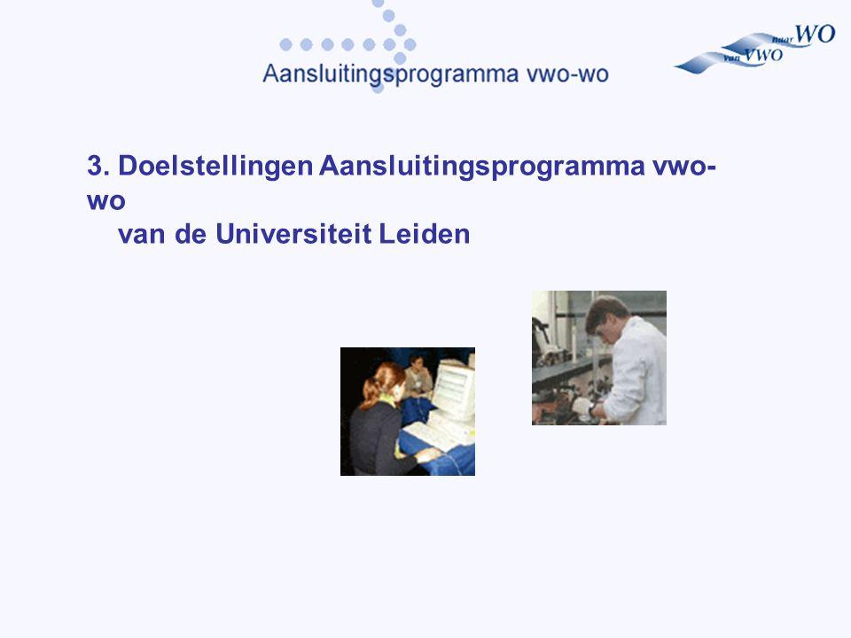 3. Doelstellingen Aansluitingsprogramma vwo- wo van de Universiteit Leiden