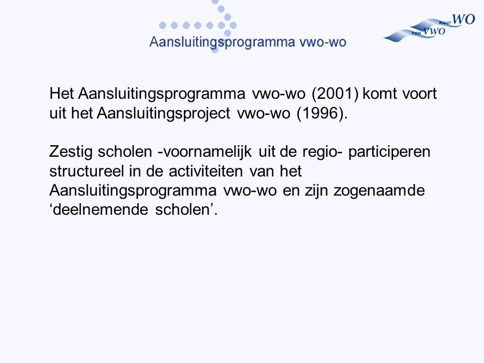 Het Aansluitingsprogramma vwo-wo (2001) komt voort uit het Aansluitingsproject vwo-wo (1996).