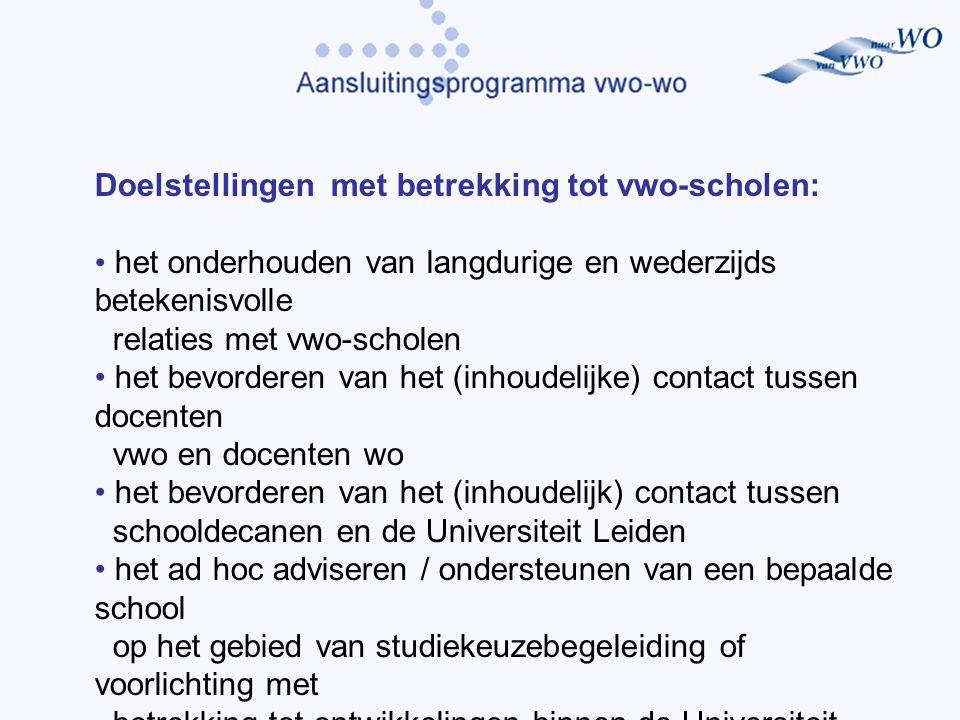Doelstellingen met betrekking tot vwo-scholen: het onderhouden van langdurige en wederzijds betekenisvolle relaties met vwo-scholen het bevorderen van het (inhoudelijke) contact tussen docenten vwo en docenten wo het bevorderen van het (inhoudelijk) contact tussen schooldecanen en de Universiteit Leiden het ad hoc adviseren / ondersteunen van een bepaalde school op het gebied van studiekeuzebegeleiding of voorlichting met betrekking tot ontwikkelingen binnen de Universiteit Leiden