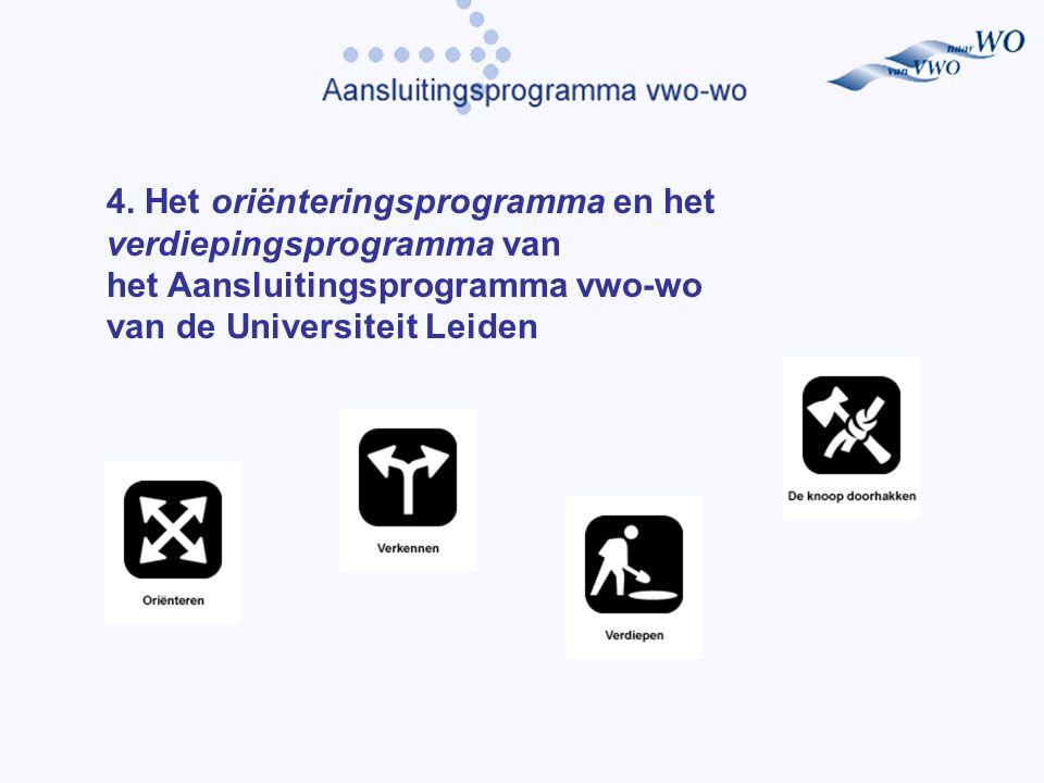 4. Het oriënteringsprogramma en het verdiepingsprogramma van het Aansluitingsprogramma vwo-wo van de Universiteit Leiden
