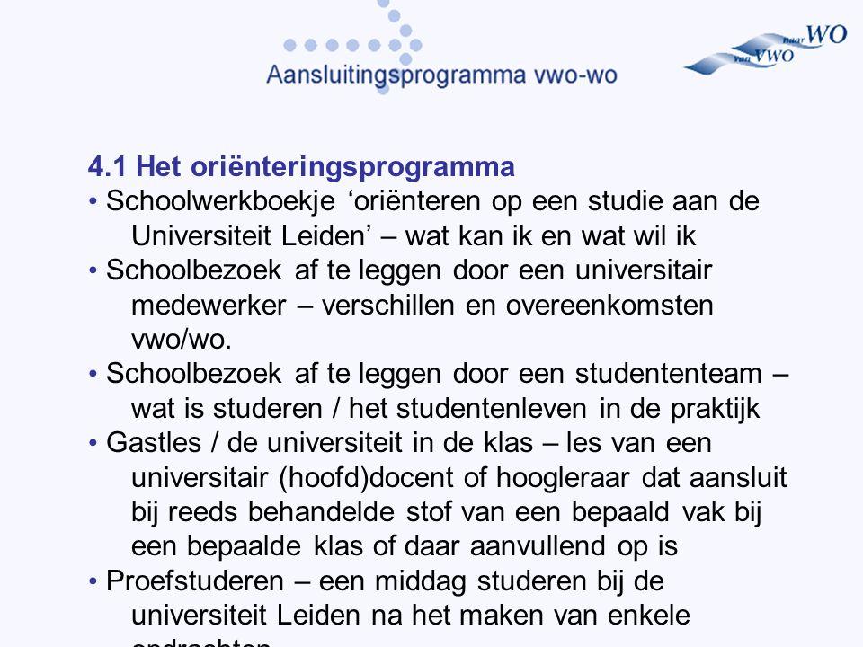 4.1 Het oriënteringsprogramma Schoolwerkboekje 'oriënteren op een studie aan de Universiteit Leiden' – wat kan ik en wat wil ik Schoolbezoek af te leggen door een universitair medewerker – verschillen en overeenkomsten vwo/wo.