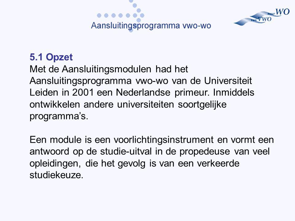 5.1 Opzet Met de Aansluitingsmodulen had het Aansluitingsprogramma vwo-wo van de Universiteit Leiden in 2001 een Nederlandse primeur.