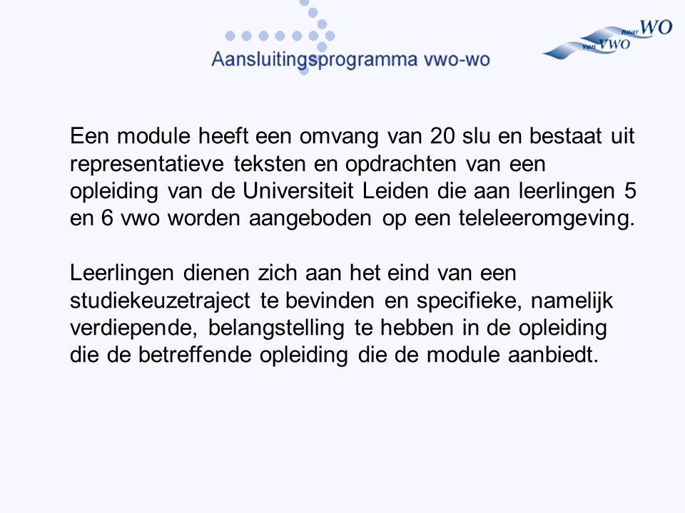 Een module heeft een omvang van 20 slu en bestaat uit representatieve teksten en opdrachten van een opleiding van de Universiteit Leiden die aan leerlingen 5 en 6 vwo worden aangeboden op een teleleeromgeving.