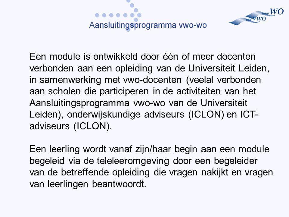 Een module is ontwikkeld door één of meer docenten verbonden aan een opleiding van de Universiteit Leiden, in samenwerking met vwo-docenten (veelal verbonden aan scholen die participeren in de activiteiten van het Aansluitingsprogramma vwo-wo van de Universiteit Leiden), onderwijskundige adviseurs (ICLON) en ICT- adviseurs (ICLON).
