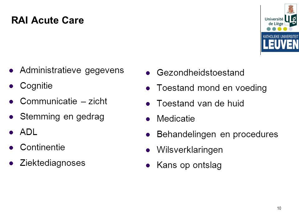 10 RAI Acute Care Administratieve gegevens Cognitie Communicatie – zicht Stemming en gedrag ADL Continentie Ziektediagnoses Gezondheidstoestand Toesta