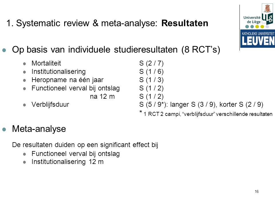 16 1. Systematic review & meta-analyse: Resultaten Op basis van individuele studieresultaten (8 RCT's) MortaliteitS (2 / 7) InstitutionaliseringS (1 /