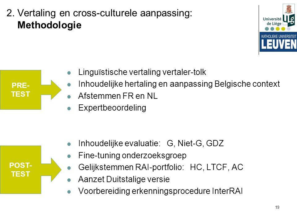 19 Linguïstische vertaling vertaler-tolk Inhoudelijke hertaling en aanpassing Belgische context Afstemmen FR en NL Expertbeoordeling Inhoudelijke eval