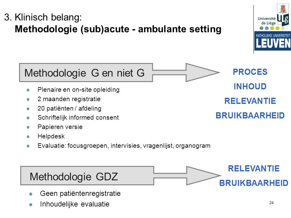 24 3. Klinisch belang: Methodologie (sub)acute - ambulante setting Methodologie G en niet G Plenaire en on-site opleiding 2 maanden registratie 20 pat