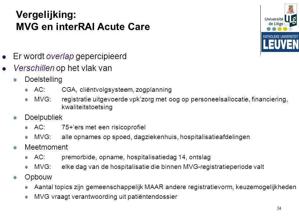34 Er wordt overlap gepercipieerd Verschillen op het vlak van Doelstelling AC: CGA, cliëntvolgsysteem, zogplanning MVG:registratie uitgevoerde vpk'zor