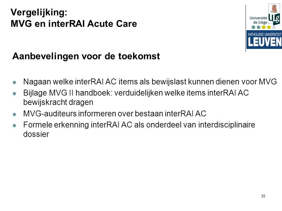 35 Vergelijking: MVG en interRAI Acute Care Aanbevelingen voor de toekomst Nagaan welke interRAI AC items als bewijslast kunnen dienen voor MVG Bijlag