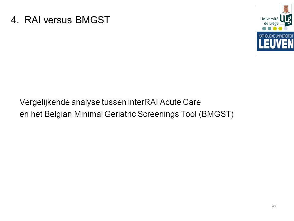 36 4. RAI versus BMGST Vergelijkende analyse tussen interRAI Acute Care en het Belgian Minimal Geriatric Screenings Tool (BMGST)