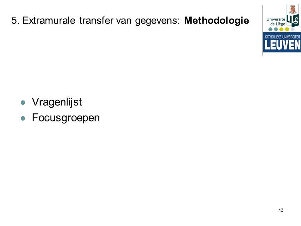42 5. Extramurale transfer van gegevens: Methodologie Vragenlijst Focusgroepen