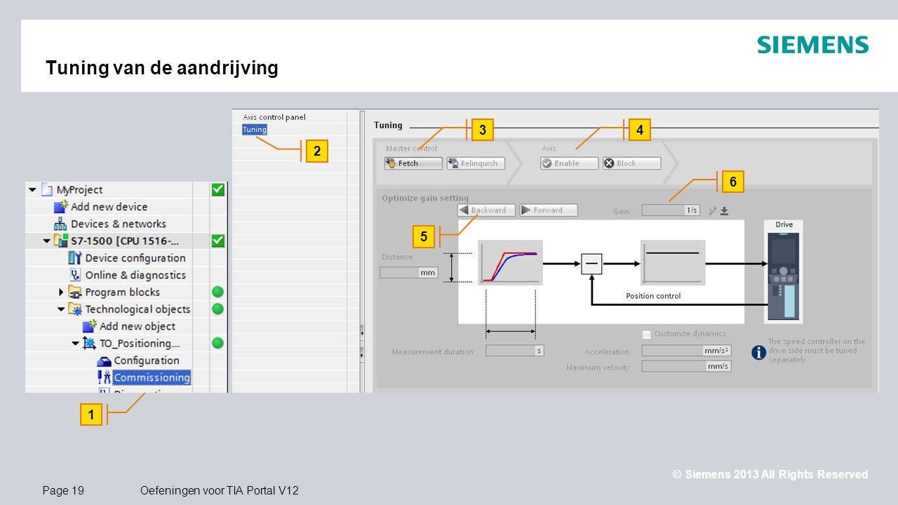 © Siemens 2013 All Rights Reserved.. Page 19Oefeningen voor TIA Portal V12 Tuning van de aandrijving 1 2 34 6 5