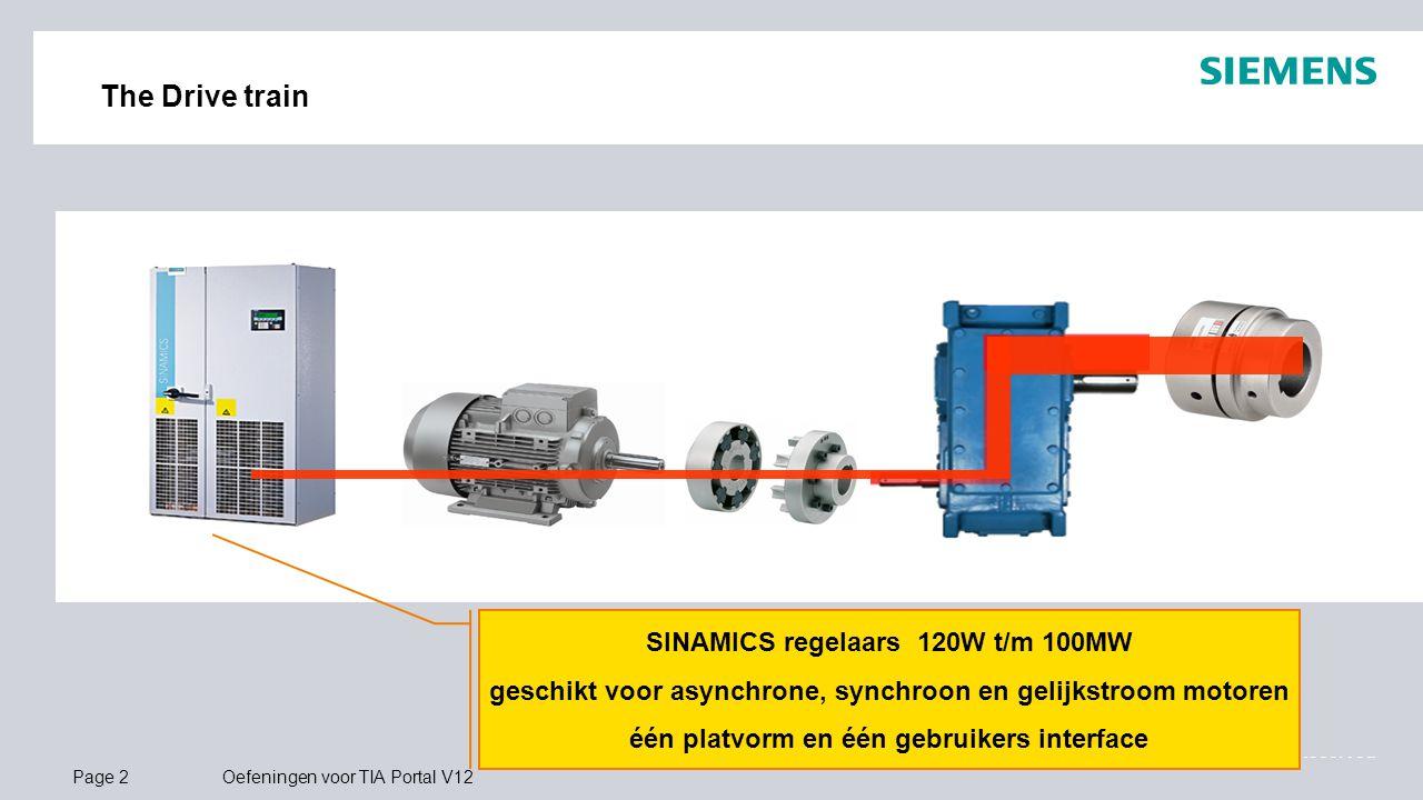 © Siemens 2013 All Rights Reserved.. Page 2Oefeningen voor TIA Portal V12 The Drive train SINAMICS regelaars 120W t/m 100MW geschikt voor asynchrone,
