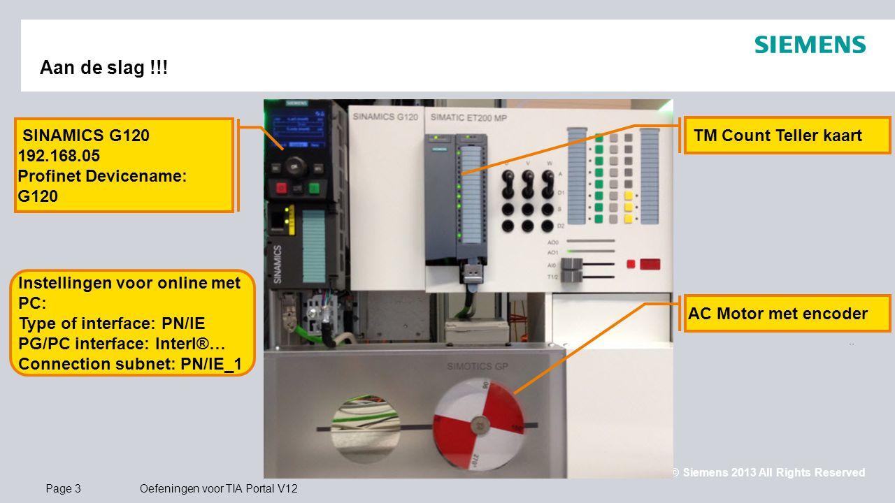 © Siemens 2013 All Rights Reserved.. Page 3Oefeningen voor TIA Portal V12 Aan de slag !!! SINAMICS G120 192.168.05 Profinet Devicename: G120 TM Count