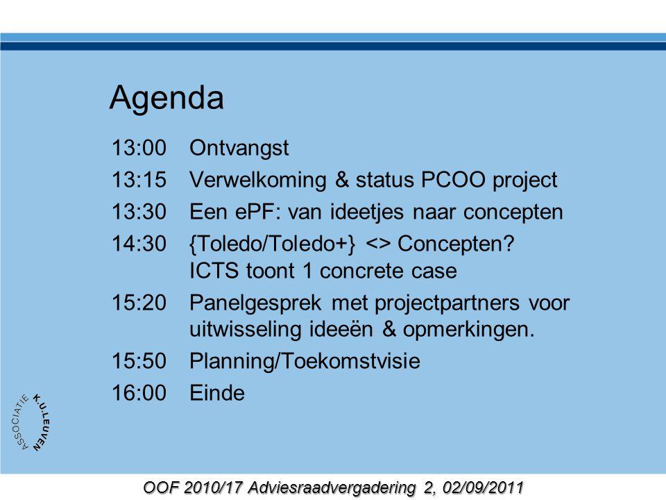 OOF 2010/17 Adviesraadvergadering 2, 02/09/2011 Deel van prototype: demo demo - student scoort competentiematrix Van concepten naar … …implementatie