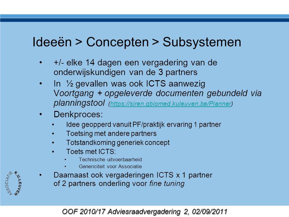 OOF 2010/17 Adviesraadvergadering 2, 02/09/2011 PCOO: belangrijk voor ICTS Terugkoppeling naar Blackboard Consultancy voor gap analyse Impact op lange termijn roadmap Toetsen van de implementatie mbv testgebruikers