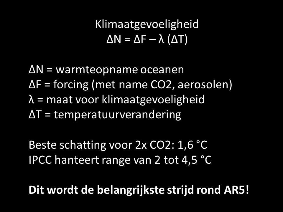 Klimaatgevoeligheid ΔN = ΔF – λ (ΔT) ΔN = warmteopname oceanen ΔF = forcing (met name CO2, aerosolen) λ = maat voor klimaatgevoeligheid ΔT = temperatuurverandering Beste schatting voor 2x CO2: 1,6 °C IPCC hanteert range van 2 tot 4,5 °C Dit wordt de belangrijkste strijd rond AR5!