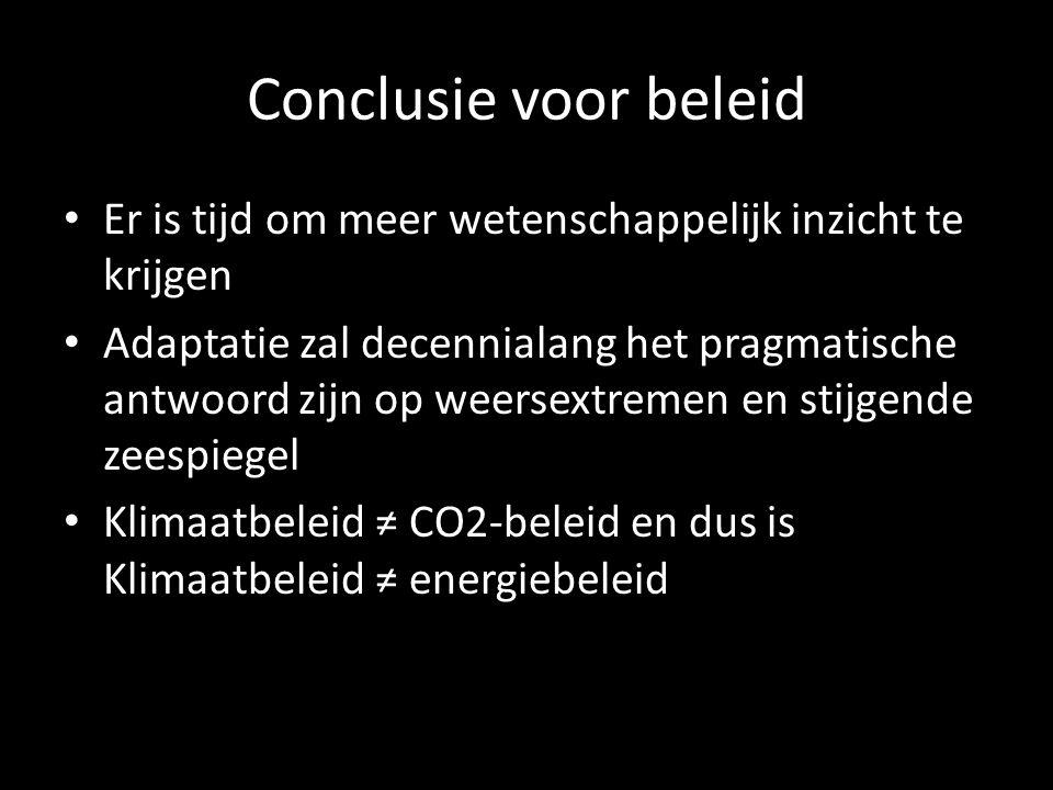 Conclusie voor beleid Er is tijd om meer wetenschappelijk inzicht te krijgen Adaptatie zal decennialang het pragmatische antwoord zijn op weersextremen en stijgende zeespiegel Klimaatbeleid ≠ CO2-beleid en dus is Klimaatbeleid ≠ energiebeleid