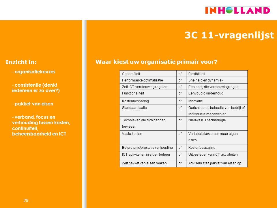 29 ContinuïteitofFlexibiliteit Performance optimalisatieofSnelheid en dynamiek Zelf ICT vernieuwing regelenofÉén partij die vernieuwing regelt Functio