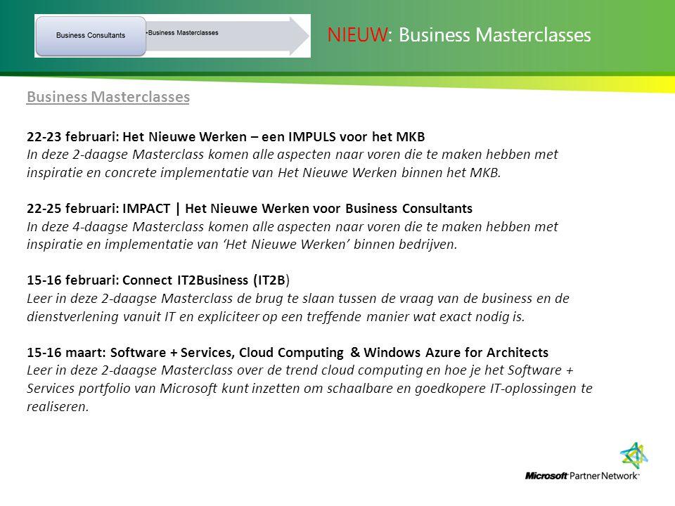 Business Masterclasses 22-23 februari: Het Nieuwe Werken – een IMPULS voor het MKB In deze 2-daagse Masterclass komen alle aspecten naar voren die te maken hebben met inspiratie en concrete implementatie van Het Nieuwe Werken binnen het MKB.