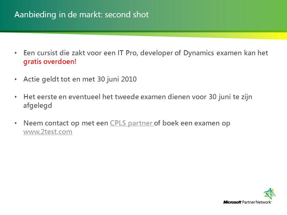 Aanbieding in de markt: second shot Een cursist die zakt voor een IT Pro, developer of Dynamics examen kan het gratis overdoen.