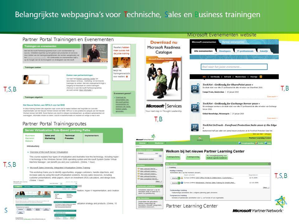 Belangrijkste webpagina's voor Technische, Sales en Business trainingen Partner Portal Trainingen en Evenementen Partner Portal Trainingsroutes Partne
