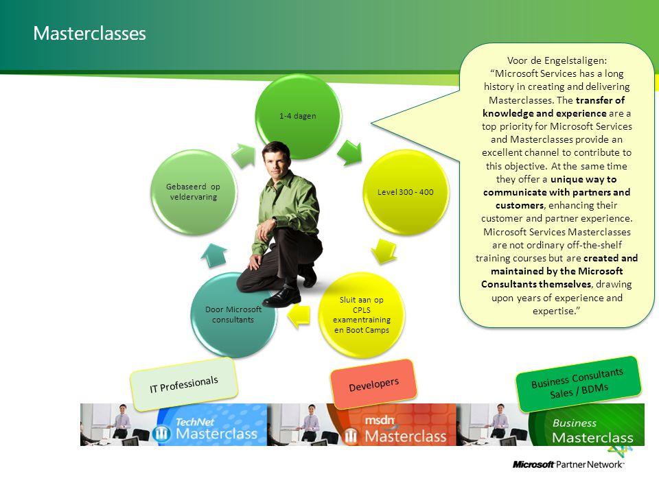 Masterclasses 1-4 dagenLevel 300 - 400 Sluit aan op CPLS examentraining en Boot Camps Door Microsoft consultants Gebaseerd op veldervaring Voor de Eng