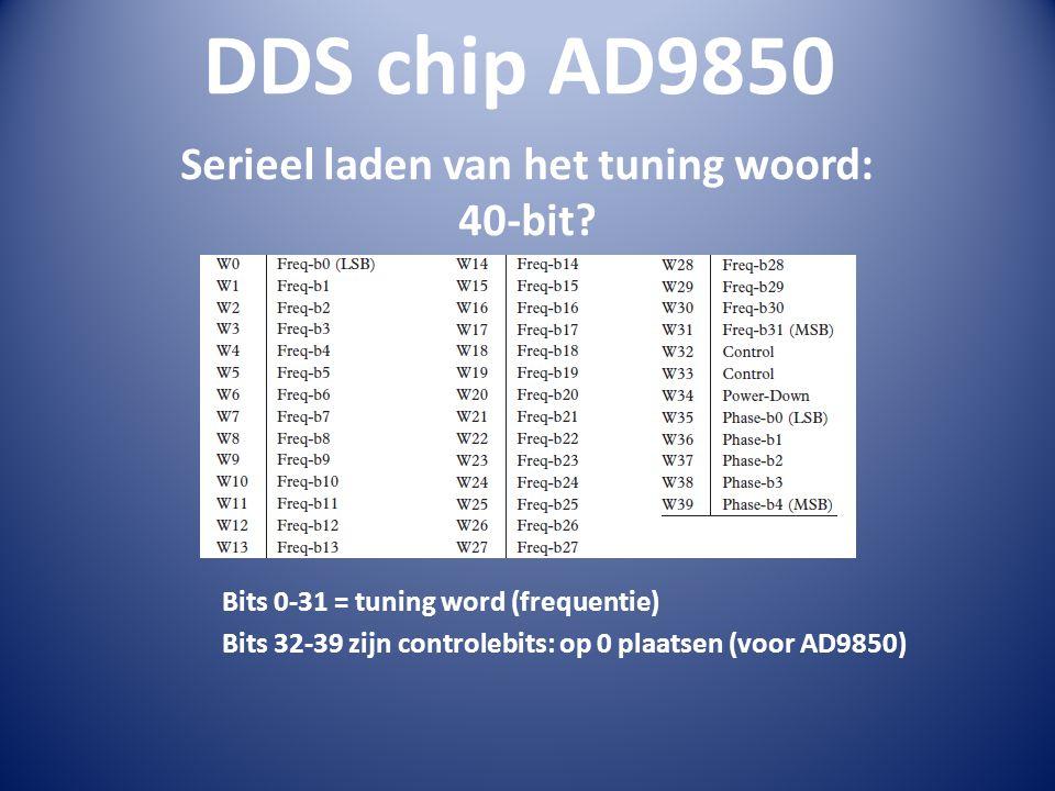 DDS chip AD9850 Serieel laden van het tuning woord: 40-bit.