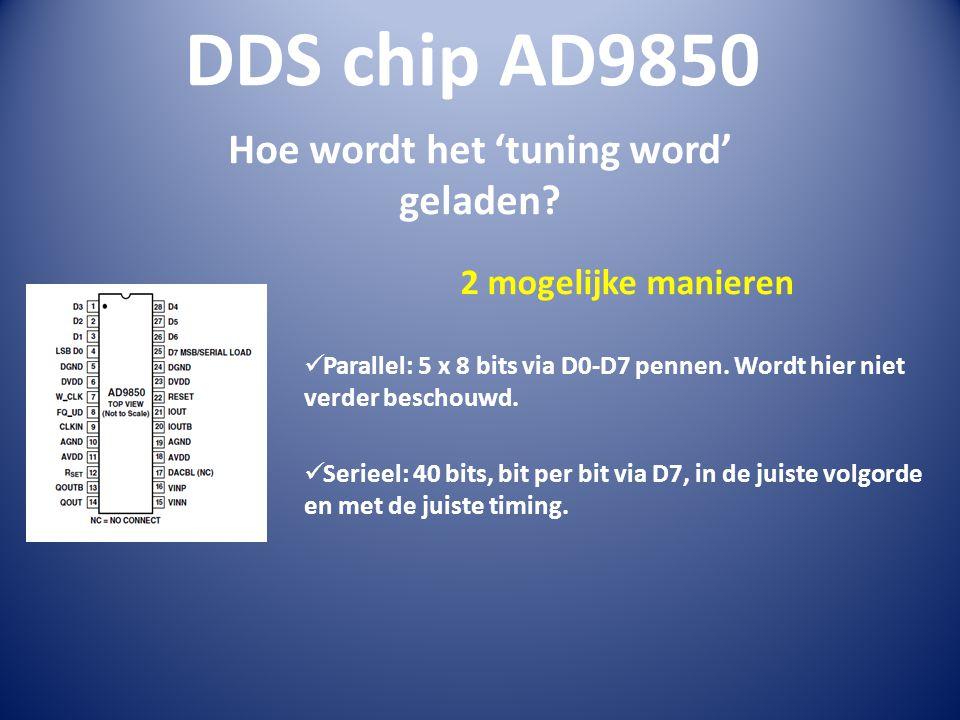 DDS chip AD9850 Hoe wordt het 'tuning word' geladen.