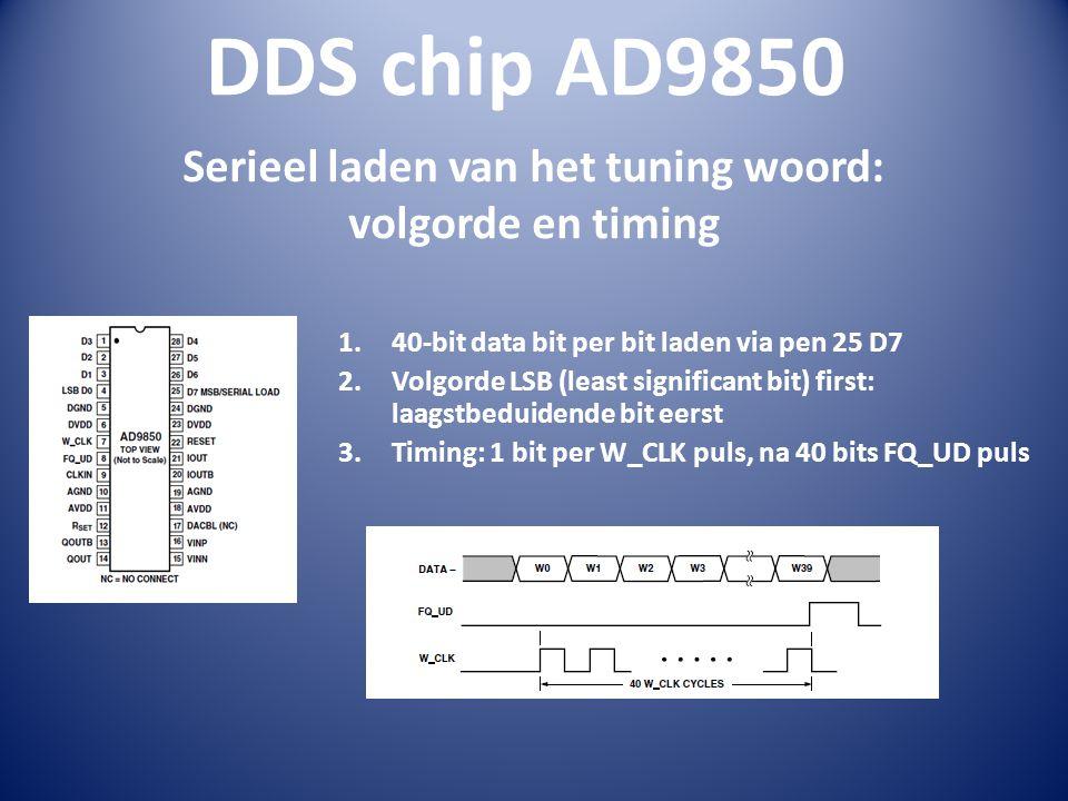 DDS chip AD9850 Serieel laden van het tuning woord: volgorde en timing 1.40-bit data bit per bit laden via pen 25 D7 2.Volgorde LSB (least significant bit) first: laagstbeduidende bit eerst 3.Timing: 1 bit per W_CLK puls, na 40 bits FQ_UD puls