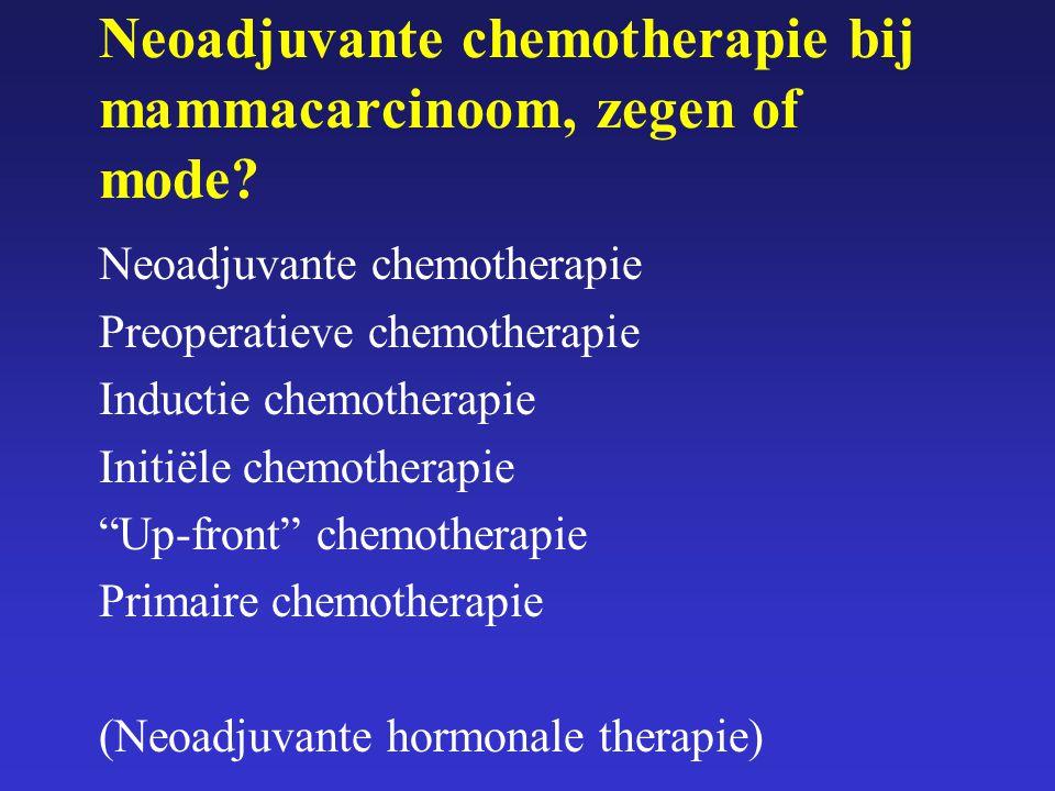 Neoadjuvante chemotherapie bij mammacarcinoom, zegen of mode? Neoadjuvante chemotherapie Preoperatieve chemotherapie Inductie chemotherapie Initiële c