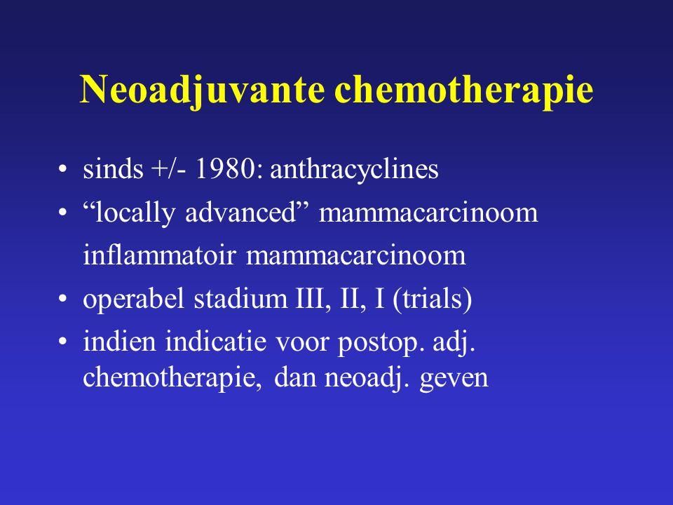 "Neoadjuvante chemotherapie sinds +/- 1980: anthracyclines ""locally advanced"" mammacarcinoom inflammatoir mammacarcinoom operabel stadium III, II, I (t"