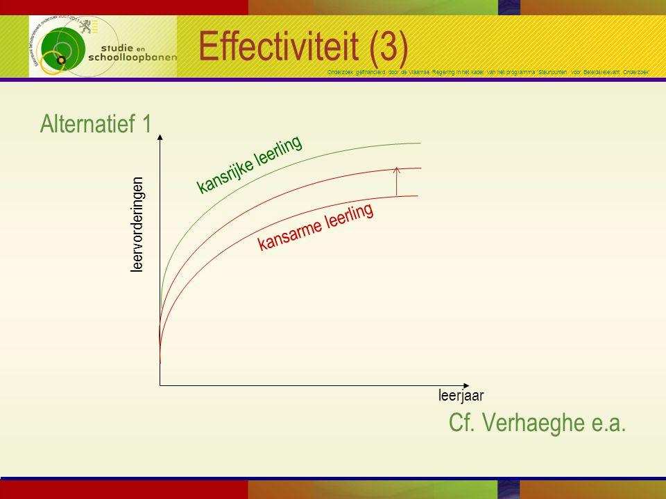 Onderzoek gefinancierd door de Vlaamse Regering in het kader van het programma 'Steunpunten voor Beleidsrelevant Onderzoek' Effectiviteit (3) Alternatief 1 Cf.