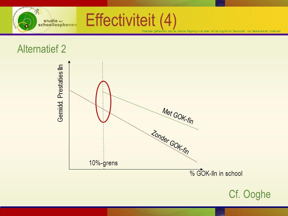 Onderzoek gefinancierd door de Vlaamse Regering in het kader van het programma 'Steunpunten voor Beleidsrelevant Onderzoek' Effectiviteit (4) Alternatief 2 Cf.