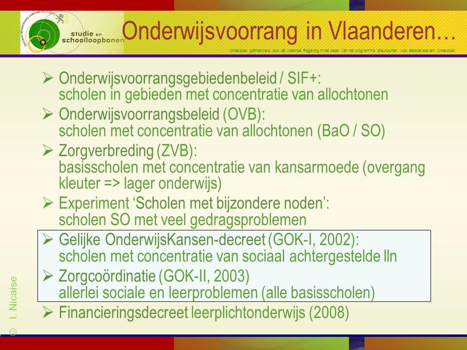 Onderzoek gefinancierd door de Vlaamse Regering in het kader van het programma 'Steunpunten voor Beleidsrelevant Onderzoek' Onderwijsvoorrang in Vlaanderen…  Onderwijsvoorrangsgebiedenbeleid / SIF+: scholen in gebieden met concentratie van allochtonen  Onderwijsvoorrangsbeleid (OVB): scholen met concentratie van allochtonen (BaO / SO)  Zorgverbreding (ZVB): basisscholen met concentratie van kansarmoede (overgang kleuter => lager onderwijs)  Experiment 'Scholen met bijzondere noden': scholen SO met veel gedragsproblemen  Gelijke OnderwijsKansen-decreet (GOK-I, 2002): scholen met concentratie van sociaal achtergestelde lln  Zorgcoördinatie (GOK-II, 2003) allerlei sociale en leerproblemen (alle basisscholen)  Financieringsdecreet leerplichtonderwijs (2008) © I.