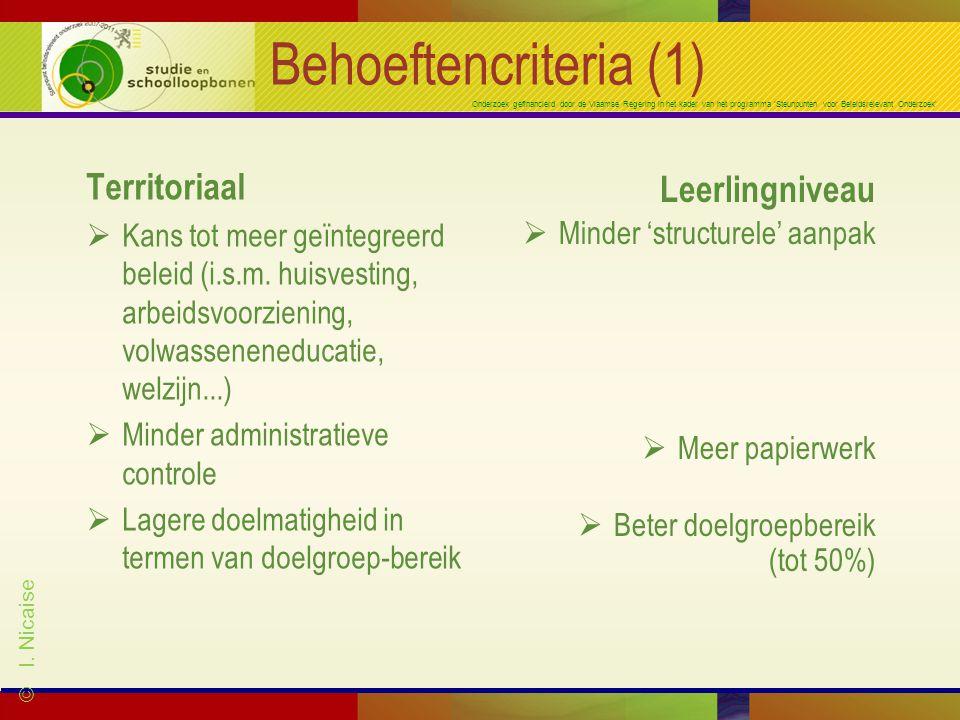 Onderzoek gefinancierd door de Vlaamse Regering in het kader van het programma 'Steunpunten voor Beleidsrelevant Onderzoek' Behoeftencriteria (1) Territoriaal  Kans tot meer geïntegreerd beleid (i.s.m.