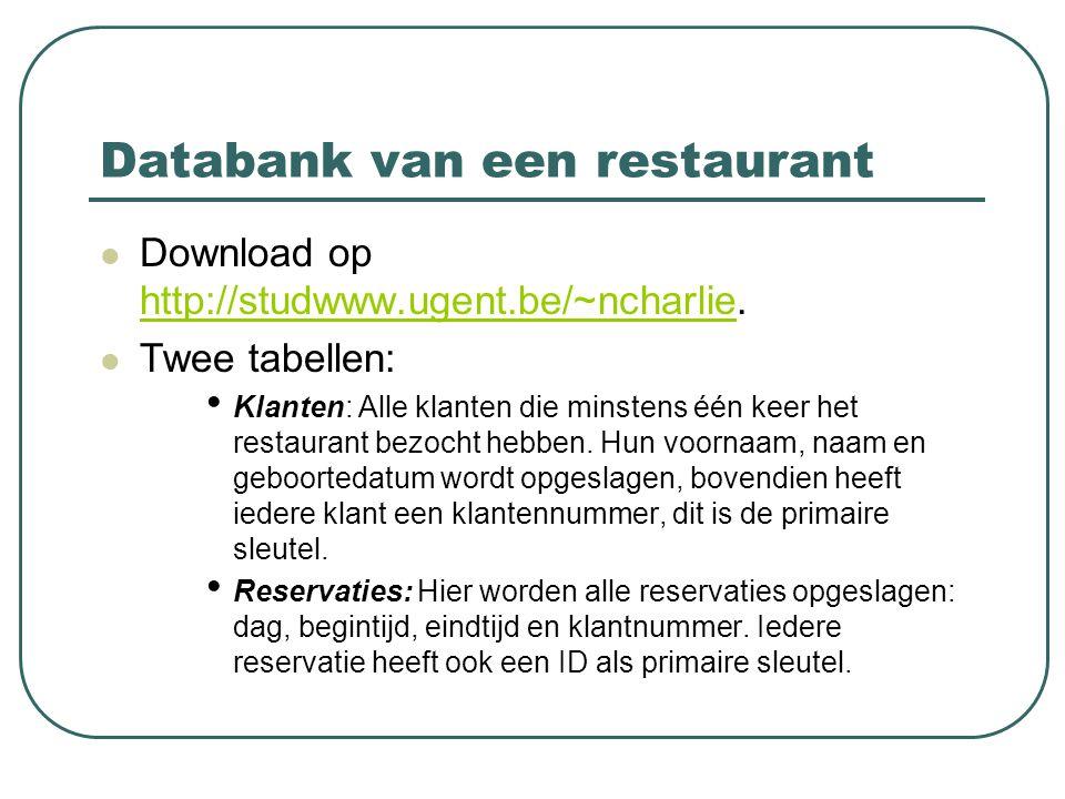 Databank van een restaurant Download op http://studwww.ugent.be/~ncharlie. http://studwww.ugent.be/~ncharlie Twee tabellen: Klanten: Alle klanten die