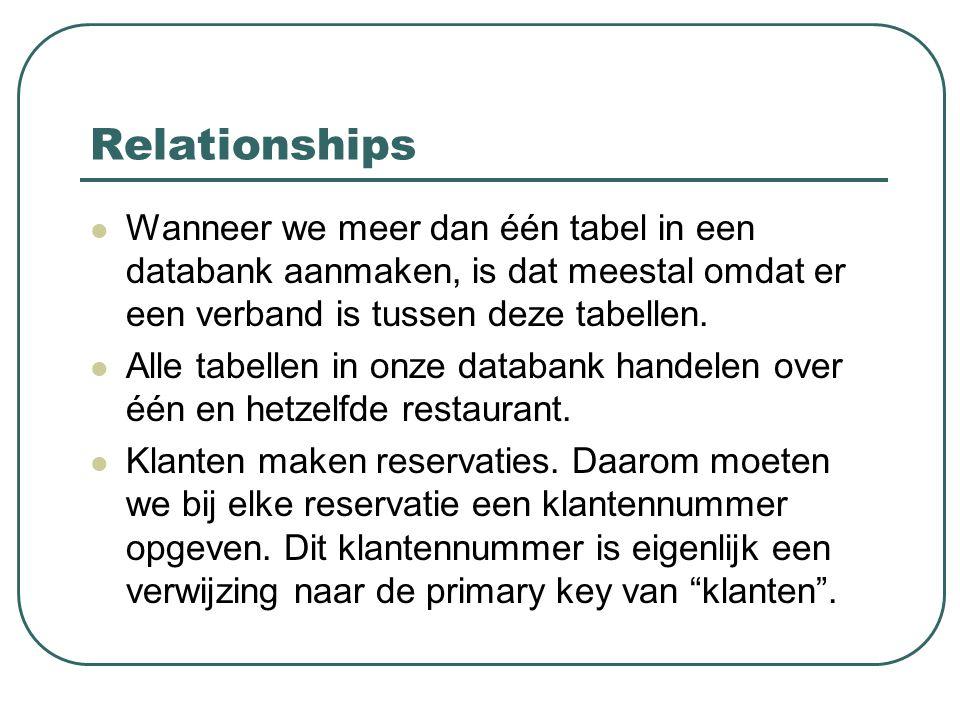 Relationships Wanneer we meer dan één tabel in een databank aanmaken, is dat meestal omdat er een verband is tussen deze tabellen. Alle tabellen in on