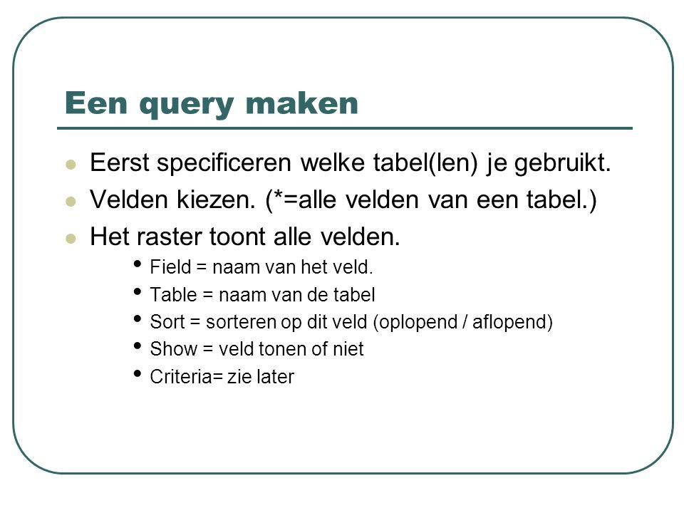 Een query maken Eerst specificeren welke tabel(len) je gebruikt. Velden kiezen. (*=alle velden van een tabel.) Het raster toont alle velden. Field = n