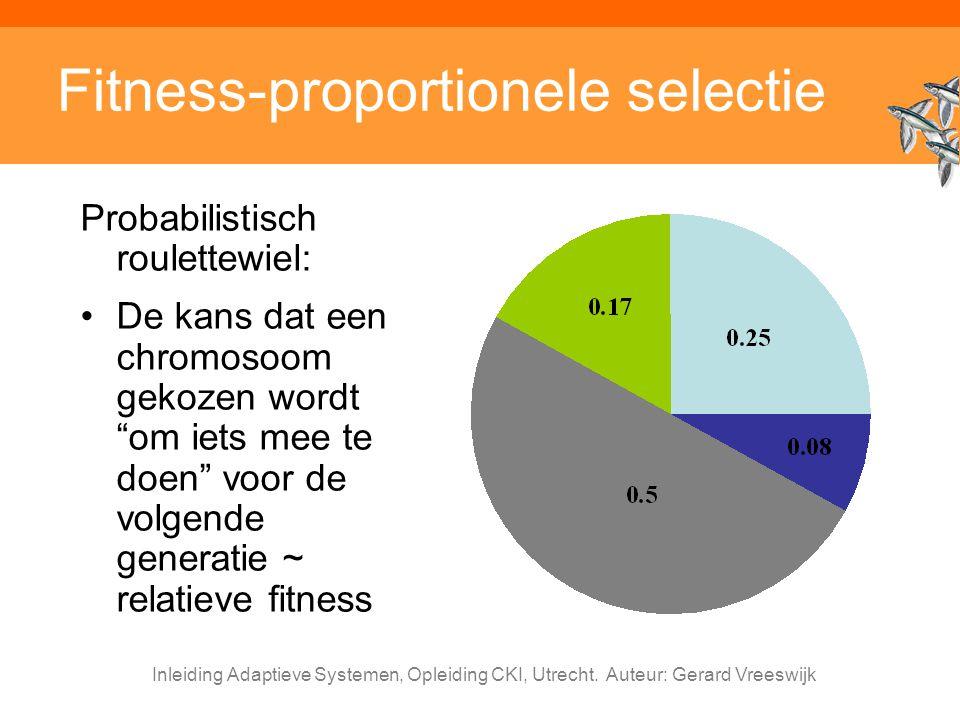 Inleiding Adaptieve Systemen, Opleiding CKI, Utrecht. Auteur: Gerard Vreeswijk Fitness-proportionele selectie Probabilistisch roulettewiel: De kans da