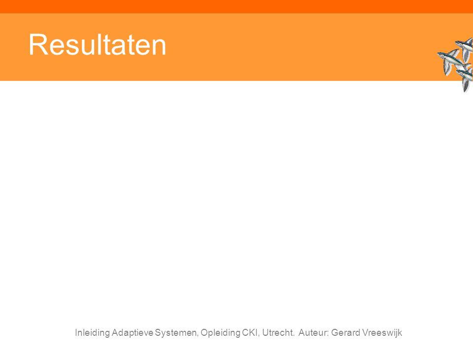Inleiding Adaptieve Systemen, Opleiding CKI, Utrecht. Auteur: Gerard Vreeswijk Resultaten