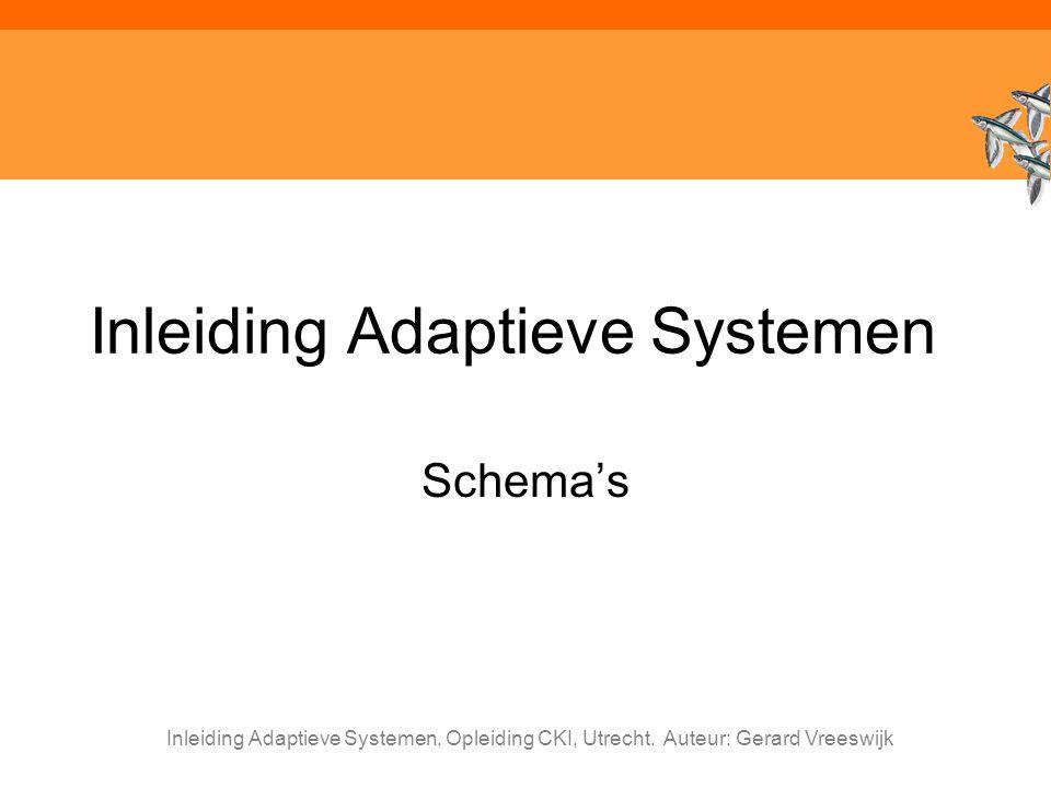 Inleiding Adaptieve Systemen, Opleiding CKI, Utrecht. Auteur: Gerard Vreeswijk Inleiding Adaptieve Systemen Schema's