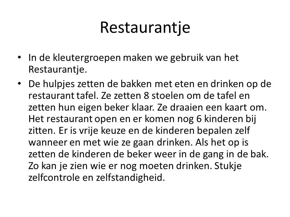 Restaurantje In de kleutergroepen maken we gebruik van het Restaurantje.