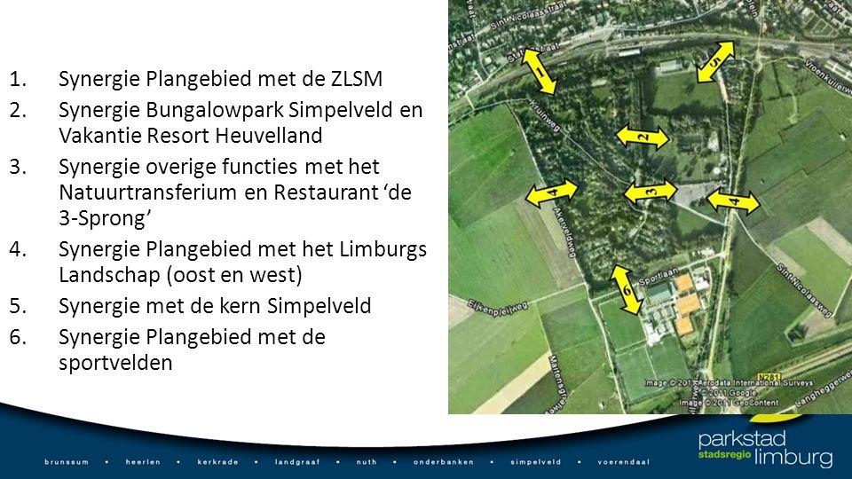 1.Synergie Plangebied met de ZLSM 2.Synergie Bungalowpark Simpelveld en Vakantie Resort Heuvelland 3.Synergie overige functies met het Natuurtransferium en Restaurant 'de 3-Sprong' 4.Synergie Plangebied met het Limburgs Landschap (oost en west) 5.Synergie met de kern Simpelveld 6.Synergie Plangebied met de sportvelden