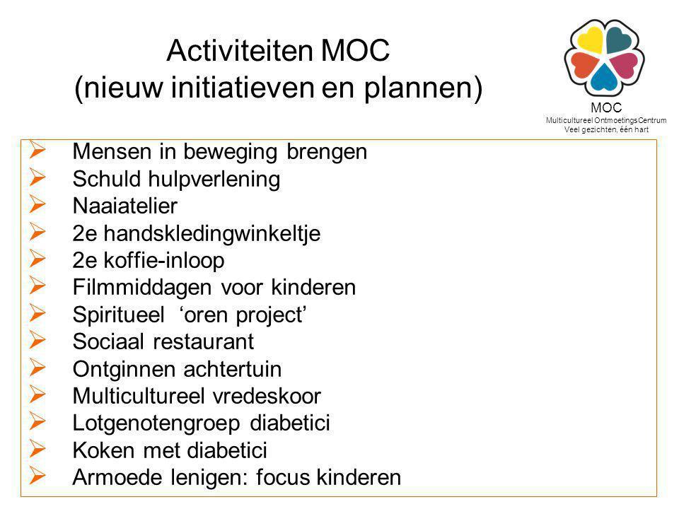 Activiteiten MOC (nieuw initiatieven en plannen)  Mensen in beweging brengen  Schuld hulpverlening  Naaiatelier  2e handskledingwinkeltje  2e kof